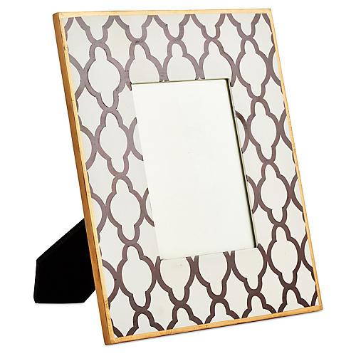 Large White Quatrefoil Frame