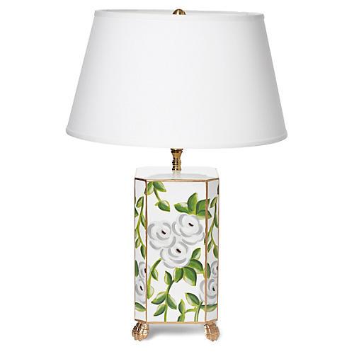 Small Chintz Table Lamp, White. Dana Gibson