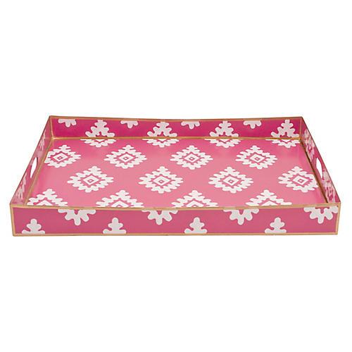 "22"" Block Print Tray, Pink"