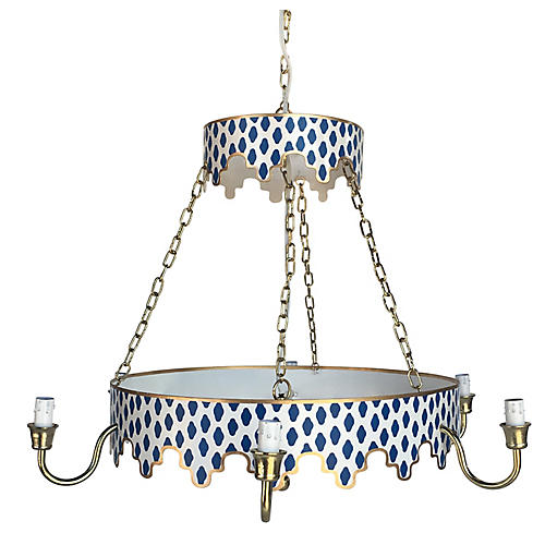 Parsi Two-Tiered Chandelier, Navy