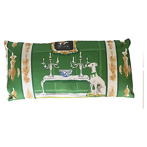Dog 12x24 Lumbar Pillow, Green