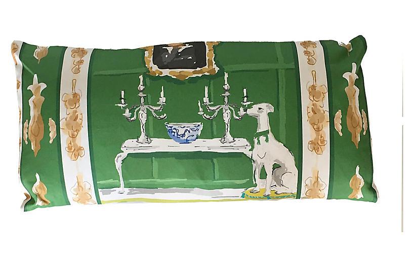 Dog 12x24 Lumbar Pillow, Green