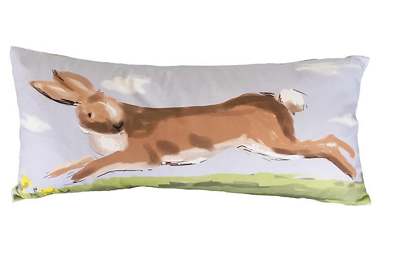 Rabbit 12x24 Lumbar Pillow, Periwinkle
