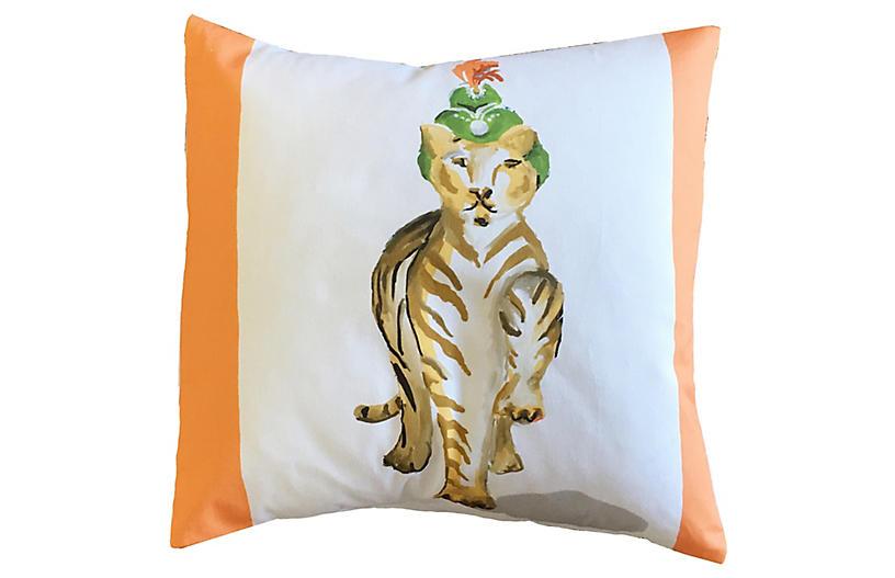 Tiger Raj 18x18 Pillow, Orange/Multi