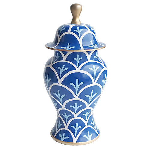 "14"" Bedford Ginger Jar, Blue/White"