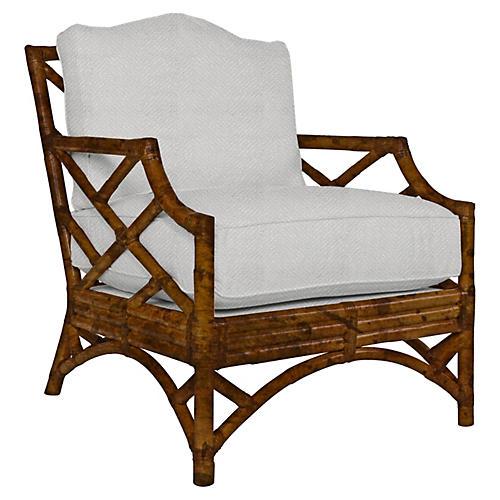 Chippendale Lounge Chair, Cream Sunbrella