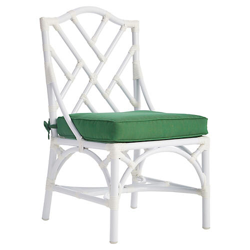 Chippendale Outdoor Side Chair, Emerald Sunbrella