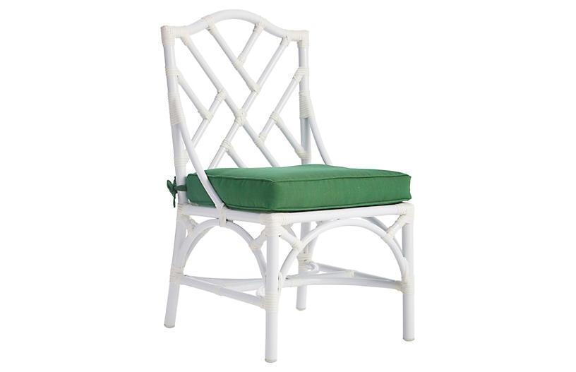 Chippendale Outdoor Side Chair, Emerald Sunbrella