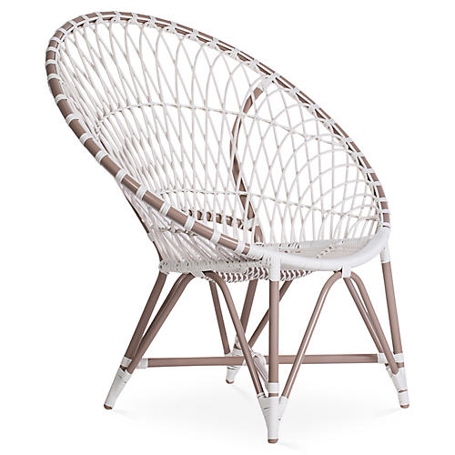 Marrakesh Lounge Chair, Café/White