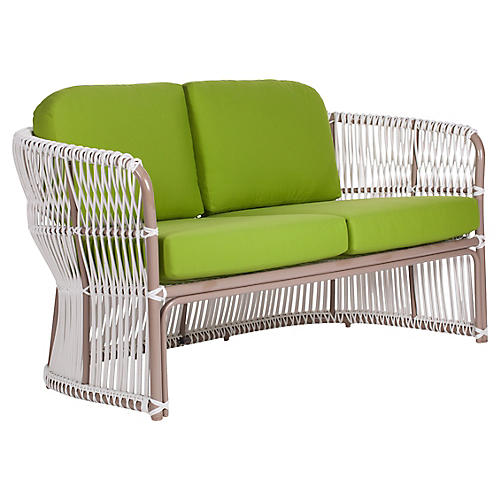 Fiji Outdoor Loveseat, Macaw Sunbrella
