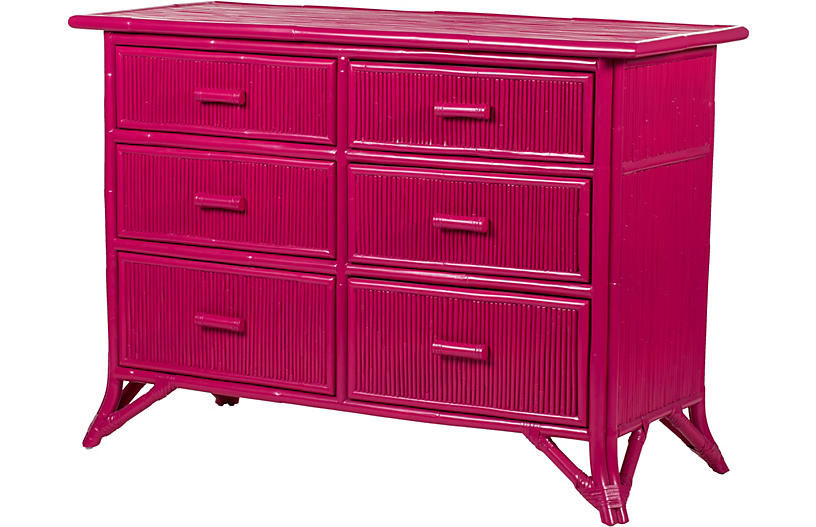 Pencil Rattan Dresser, Hot Pink