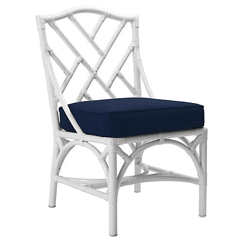 Chippendale Outdoor Side Chair, Navy Sunbrella