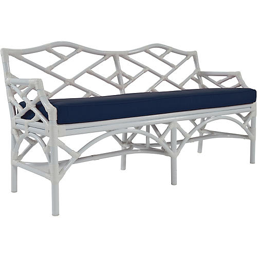 "Chippendale 60"" Sunbrella Bench, Navy"