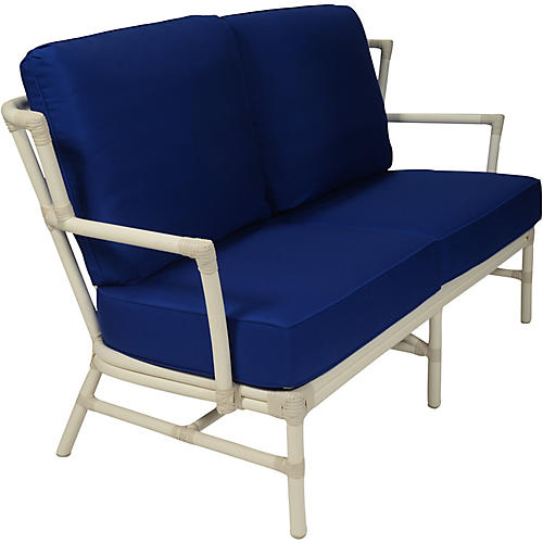 Nantucket Outdoor Loveseat, Dark Blue Sunbrella