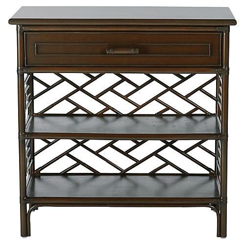 Chippendale Nightstand, Coffee Brown