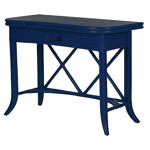 Crushed Bamboo 1-Drawer Desk, Navy
