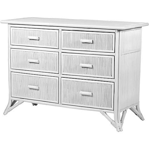 Pencil Rattan Dresser, White