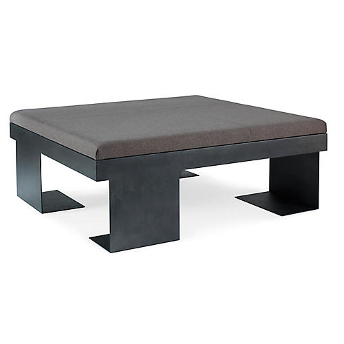 Monument Cocktail Table, Gray Leather