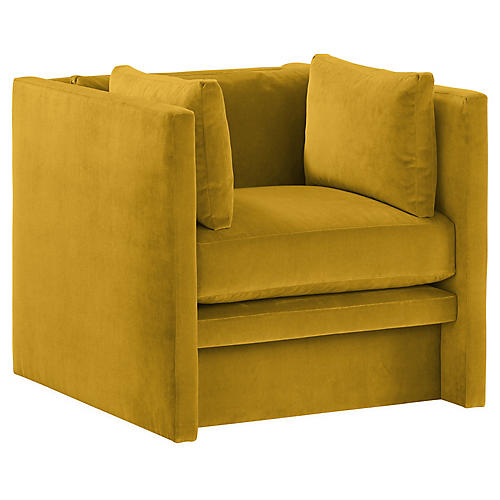 Meyer Club Chair, Citrine Velvet