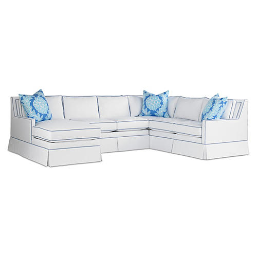 Lilla Sectional, White/Cobalt