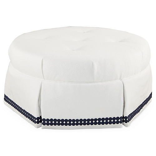 Richmond Ottoman, White/Navy