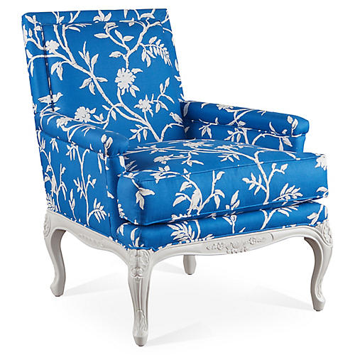 Tiverton Accent Chair, Blue Floral
