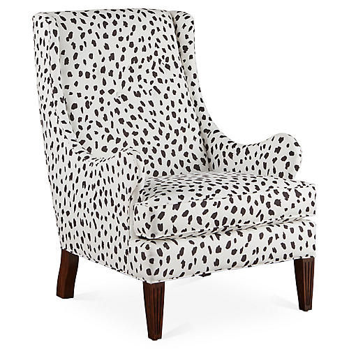Gottwald Wingback Chair, Black/White