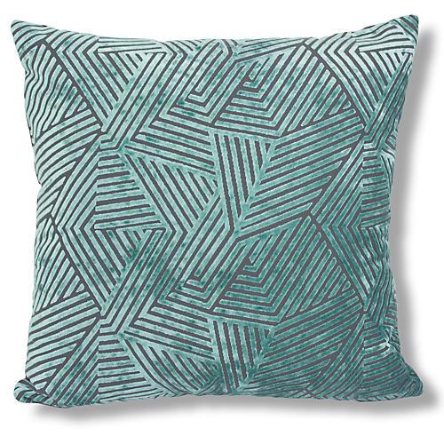 Oliva 22x22 Velvet Pillow, Turquoise