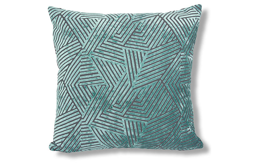 Olivia 22x22 Pillow, Turquoise Velvet