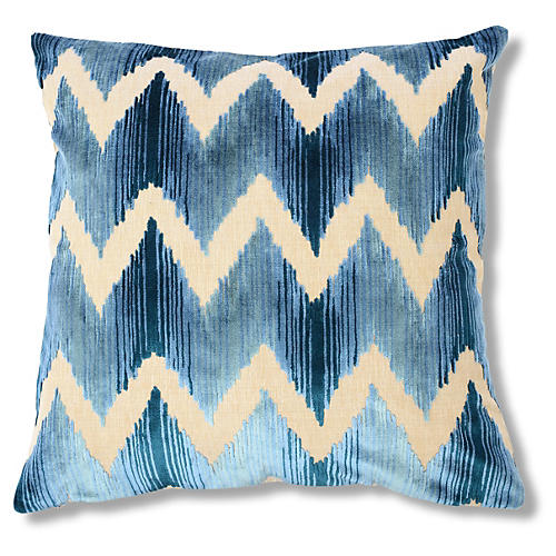 Mary 22x22 Velvet Pillow, Blue