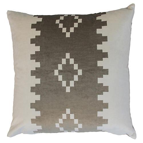 Anna 22x22 Velvet Pillow, Taupe/White