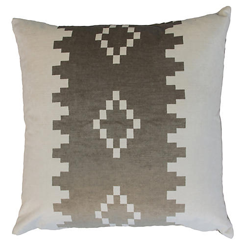 Anna 22x22 Velvet Pillow, Taupe/White