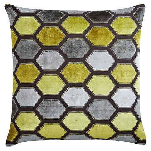Evie 22x22 Velvet Pillow, Citrus