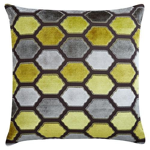 Evie 22x22 Velvet Pillow, Citrus