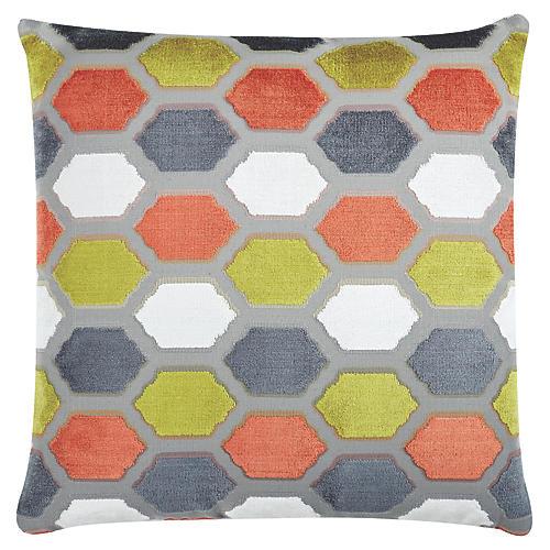 Evie 22x22 Velvet Pillow, Sorbet