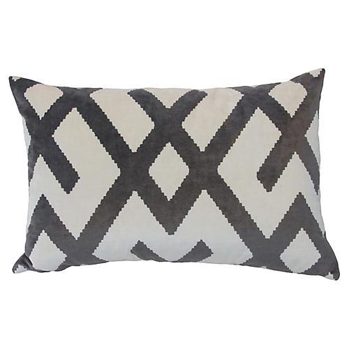 Marlowe 24x16 Velvet Pillow, Gray/White
