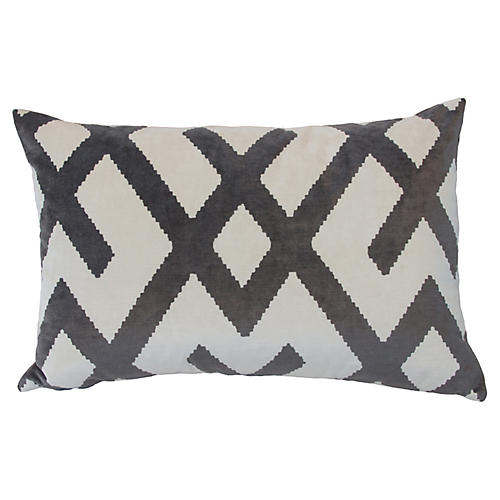 Marlowe 24x16 Velvet Pillow, Gray/White