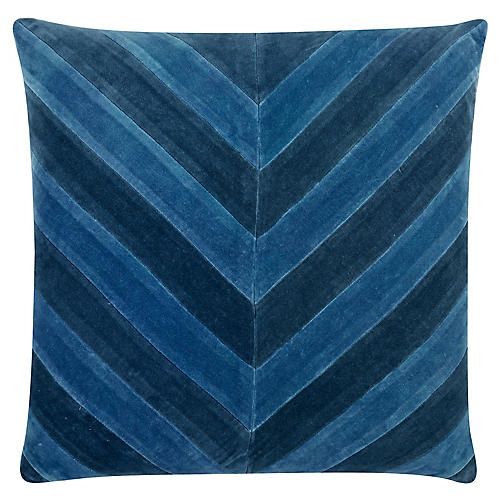Ryan 22x22 Velvet Pillow, Blue
