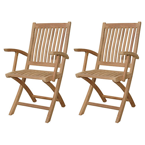 Tropico Folding Armchairs, Pair