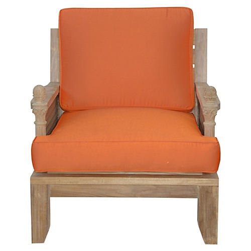 Luxe Teak Armchair, Orange