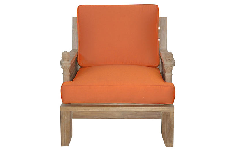 Luxe Teak Armchair, Orange
