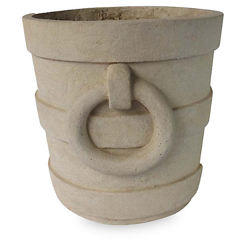 Aztec-Style Round Planter, Natural