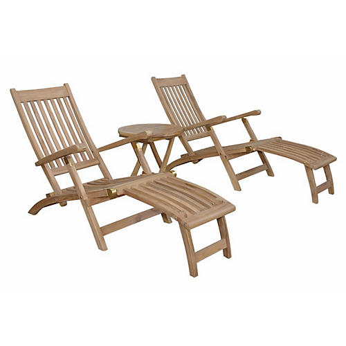 Asst. of 3 Tropicana Montage Lounge Set, Natural