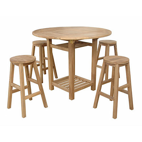 Seacrest Alpine II 5-Pc Counter Table Set, Natural