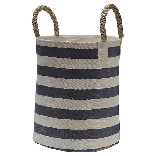 Pacific Laundry Wide Stripes Basket, Blue/White