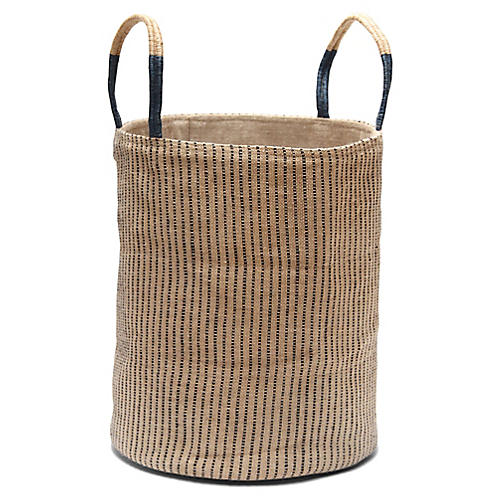 "19"" Loomed Basket, Indigo Stripes"