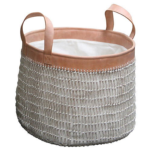 "15"" Knotted String Basket, Cinnamon/Gray"