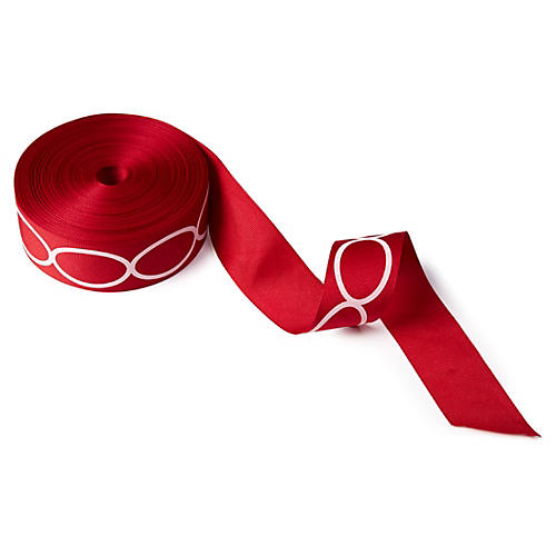 "1.5"" Grosgrain Oval Ribbon, Red"
