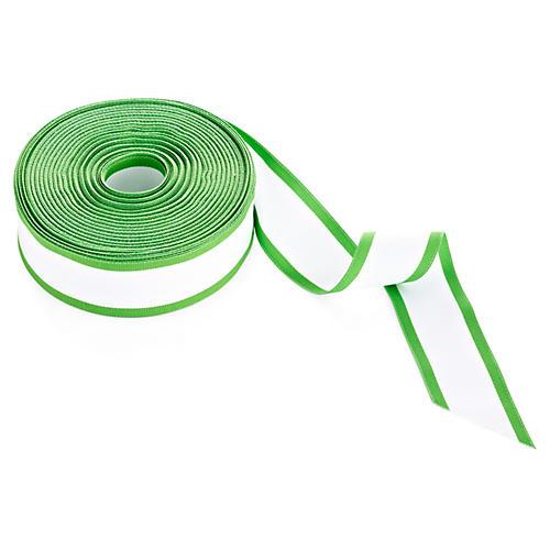"""1.5"""" White Grosgrain Edged Ribbon, Green"""