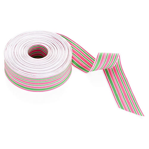 "1.5"" Grosgrain Stripes, Pink/Green/White"